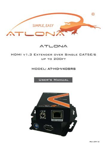 Atlona 1 by 4 hdmi splitter over cat56 and 1 local hdmi output hdmi v13 extender over single cat5e6 atlona sciox Images