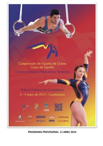 PROGRAMA PROVISIONAL COPA DE ESPAÑA Y CLUBES GAF GAM 2014