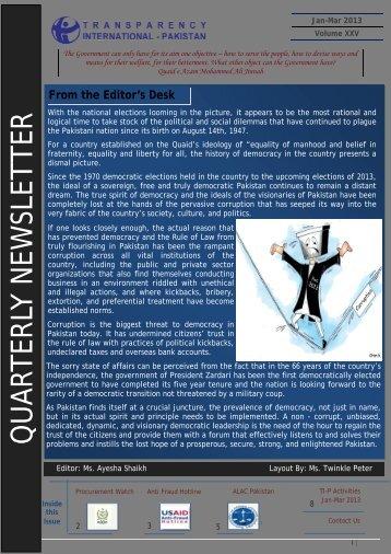 1st Quarter Jan - March 2013 - Transparency International Pakistan