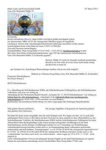 Huber Land- und Forstwirtschaft GmbH 29. Maerz 2O12 Guts-/Erb ...
