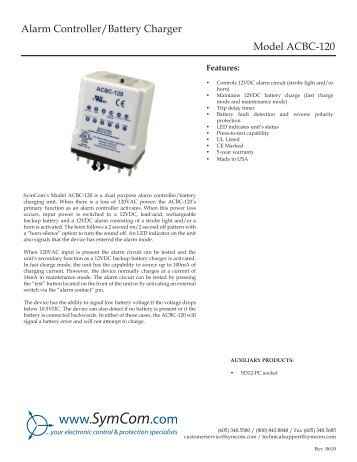 Alarm Controller/Battery Charger Model ACBC-120 - SymCom