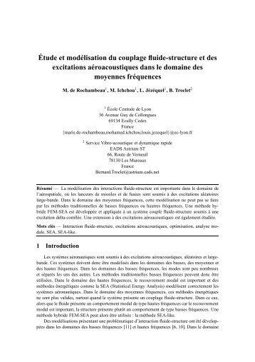 Étude et modélisation du couplage fluide-structure et ... - Giens 2009