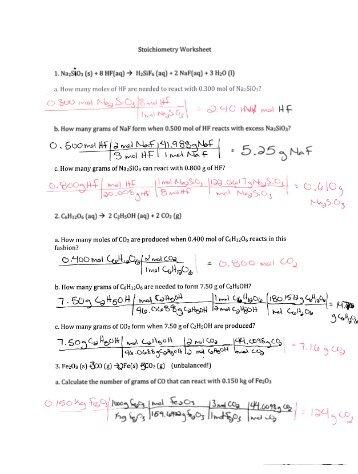 CHM 130 Stoichiometry Worksheet