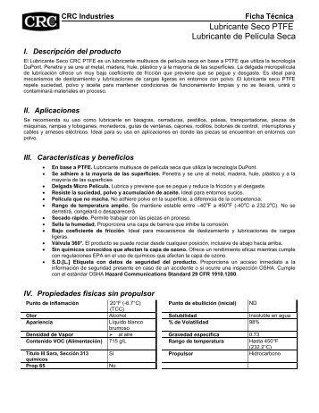 Lubricante Seco PTFE Lubricante de Película Seca - CRC Industries