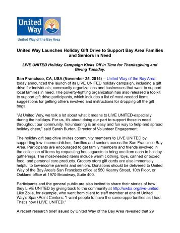 United way launches holiday gift drive