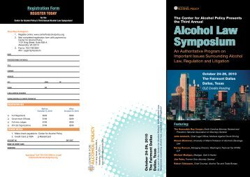Alcohol Law Symposium - Center for Alcohol Policy
