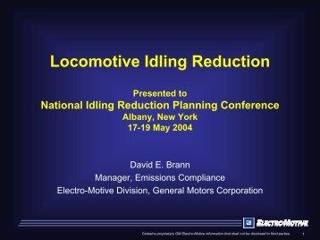 Locomotive idle reduction - EERE