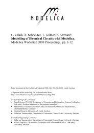 C. ClauB, A. Schneider, T. Leitner, P. Schwarz: Modelling of - Modelica
