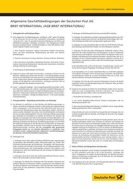 Agb Brief International Deutsche Post