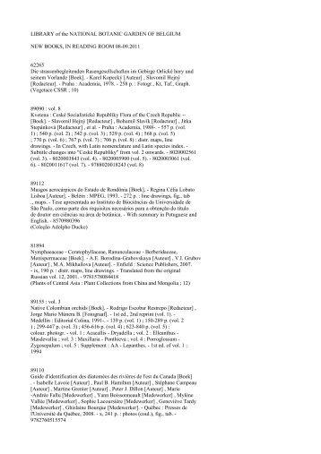 LIBRARY of the NATIONAL BOTANIC GARDEN OF BELGIUM NEW ...