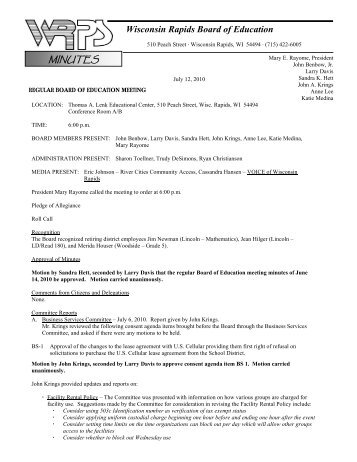 Minutes for the Regular 7-12-10 Meeting - Wisconsin Rapids Public ...