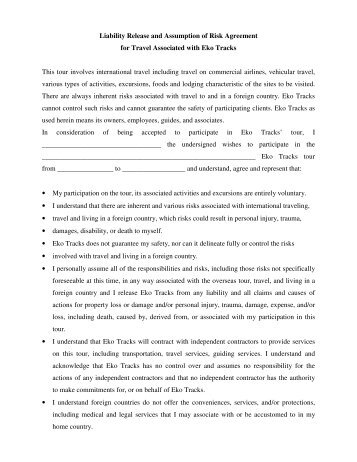 Release Of Liability Agreement Waiver Of Claims Assumption Of