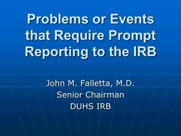 Problems or Events that Require Prompt Reporting to the IRB [Dr ...