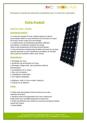 Fiche Produit - bc solar