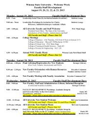 2013 Faculty/Staff Welcome Week Schedule - Winona State University