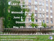 LBAT Summer Program Germany Weimar – Munich - Berlin June 4 ...