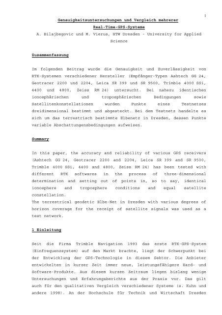 Genauigkeitsuntersuchungen und Vergleich mehrerer