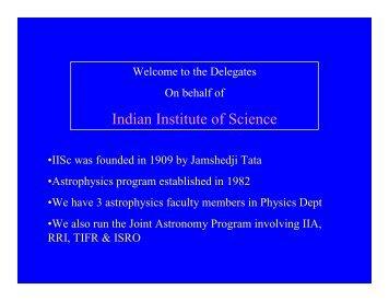 Indian Institute of Science - Indian Institute of Astrophysics