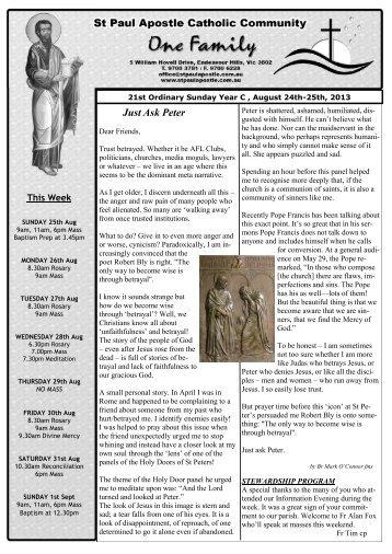 21st Sunday in Ordinary Time Year C - St Paul Apostle Catholic ...