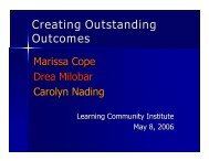 Creating Outstanding Outcomes - Learning Communities