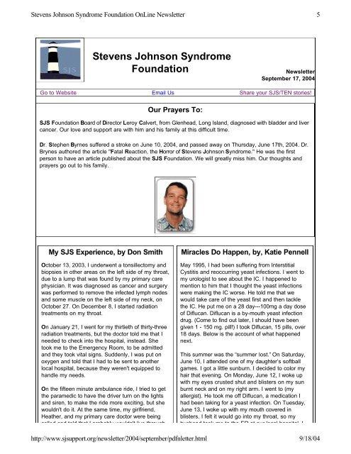 printable PDF version - Stevens Johnson Syndrome Foundation