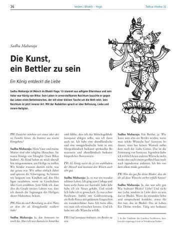 Sadhu Maharaja, Die Kunst ein Bettler zu sein (pdf) - Gopi.de