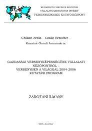 ZÁRÓTANULMÁNY - BCE Vállalatgazdaságtan Intézet Archívuma ...