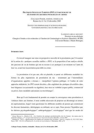 Pratiques sexuelles tarifées (PST) - Université Rennes 2