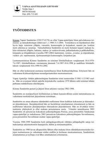 27. Kimmo Sundströmin työtodistus - Pääkaupunkiseudun ateistit ry