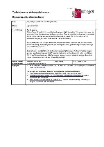 Brief d.d. 16 april 2013 met bijlagen - Gemeente Nijmegen