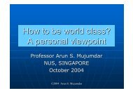 How to be world class? - National University of Singapore