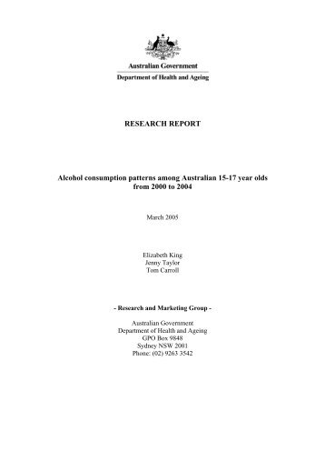 Research Report - Alcohol consumption patterns among Australian ...