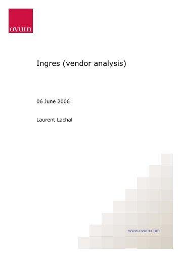 Ingres (vendor analysis) - Actian