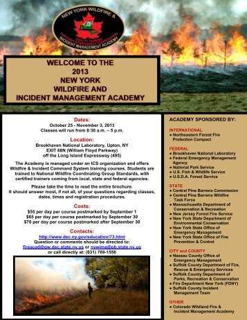 2013 New York Wildfire and Incident Management Academy Brochure
