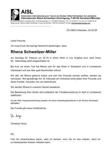 Rhena Schweitzer-Miller - Albert-Schweitzer-Freundeskreis Dresden
