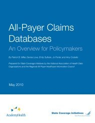 All-Payer Claims Databases - State Coverage Initiatives