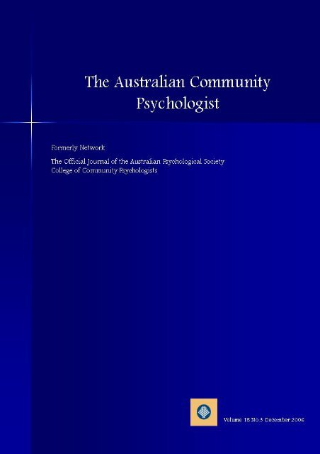 The Australian Community Psychologist - APS Member Groups