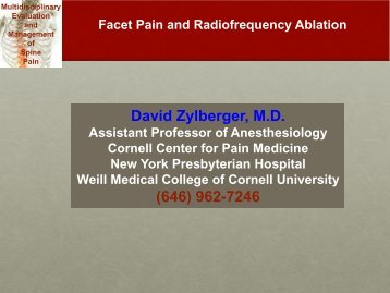 Facet Pain and Radiofrequency Ablation - New York Presbyterian ...