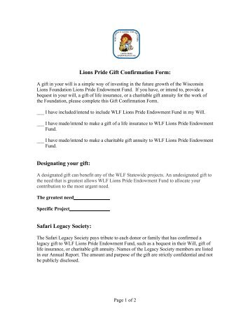 Printable Gift Confirmation Form - Lions Pride Campaign