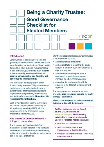 Checklist for Charity Trustees - Office of the Scottish Charity Regulator