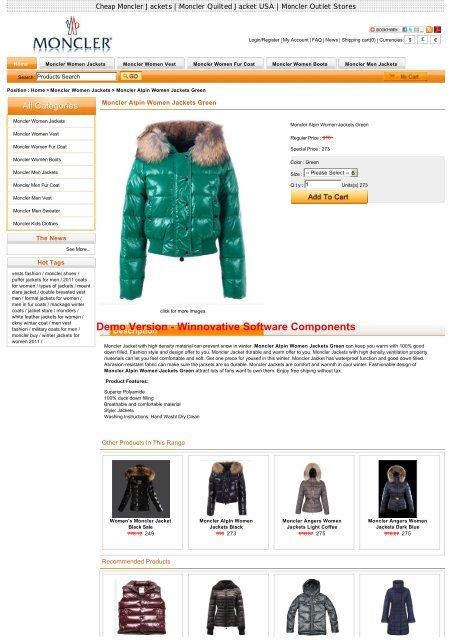 buy popular bc1c8 83ede Online shopping moncler alpin women jackets green in general ...