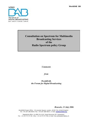 Consultation on Spectrum for Multimedia Broadcasting Services of ...