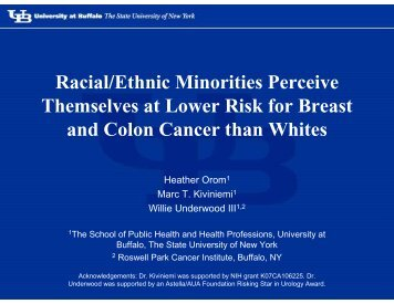 Racial Ethnic Minorities Perceive Themselves at Lower Risk for ...