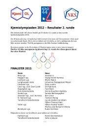Kjemiolympiaden 2012 – Resultater 2. runde - Universitetet i Oslo