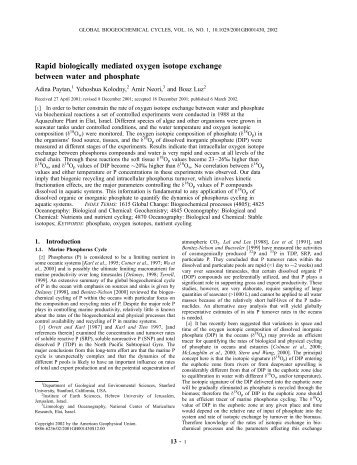 Rapid biologically mediated oxygen isotope exchange between ...