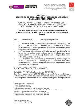 ANEXO 5. Formato para conformar un CONSORCIO - Sociedad ...