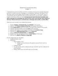 Dialectical Journal Instructions English 11