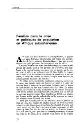 Familles dans la crise et politiques de ... - Politique Africaine