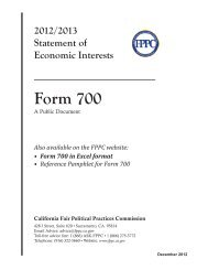 Form 700 - Fair Political Practices Commission - State of California