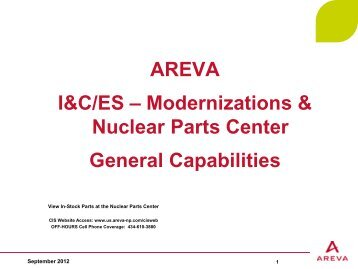 AREVA I&C/ES – Modernizations & Nuclear Parts ... - AREVA NP Inc.